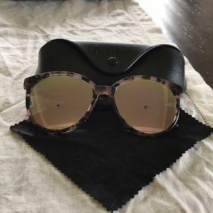Diff eyewear, tortoise frame, mirror lenses